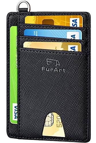 FurArt Portefeuille Minimaliste Fin, Porte-Cartes de Crédit avec Blocage Anti RFID, Les Femmes Hommes, Démontage Manille en D,Saffiano Noir