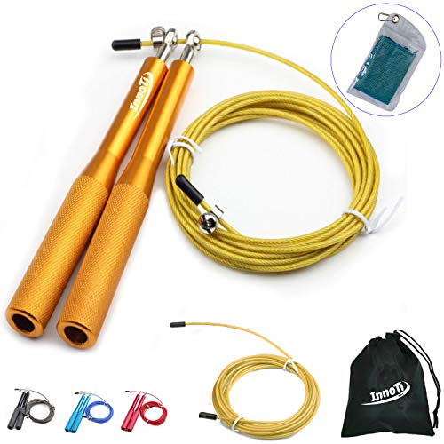 InnoTi Comba de Crossfit para Hombre y Mujer - Cuerda de Saltar de Alta Velocidad para Boxeo y Fitness - Comba de Alumino Ligera Saltos Dobles - Ajustable y con Cable Extra de Repuesto (Amarilla)