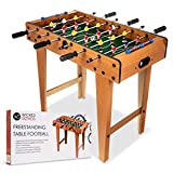 WICKED GIZMOS Table Top Football Game with Legs – Large Free Standing Quality Wooden Foosball Soccer Sport Board - Includes 9 Players per Side and 2 Balls - Classic Novelty Retro Toy Gadget Gift