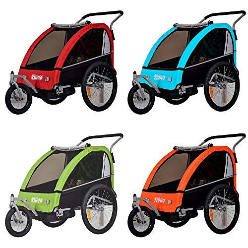 Kinderanhänger Fahrradanhänger 2 in 1 Anhänger Kinderfahrradanhänger mit Buggy Set + Federung BT605 (BLAU)
