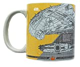 Official Star Wars Millennium Falcon Grid Schematics 20-Ounce Mug - Ceramic Cup For Hot Coffee, Tea, Cocoa - Features Detailed Ship Design Templates - Licensed Disney Item