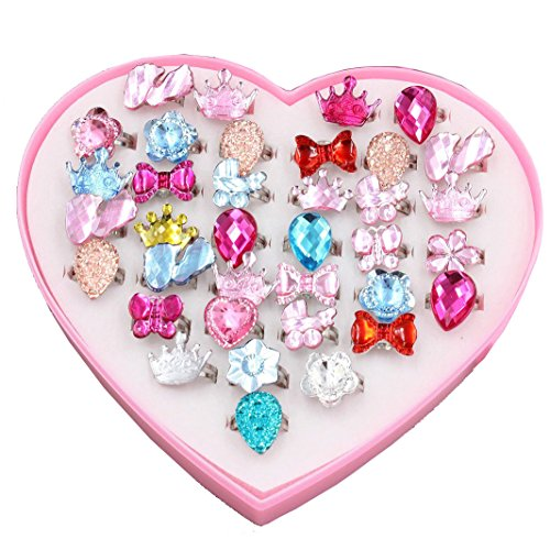 DIY House 24 PCS Little Girls Crystal Adjustable Rings Princess Dress Up Play Jewelry Rings Toys for Kids Children Birthday Party Supplies with Heart Shaped Pink Box