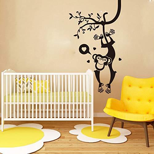 Cartoon Monkey Tree Safari Muurtattoos voor slaapkamer, baby Nursery Big Monkey Animal Pet Jungle Forest Wall Sticker Play Vinyl 42X67CM Blanco Y Gris