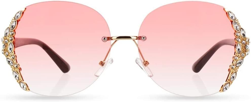 WSXOKN Lunettes de Soleil Femmes Hommes sans Monture Gradient Designer de Marque de Mode Big Strass Lunettes de Soleil c1 pink