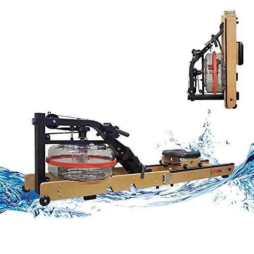 Fitifito WR19 Rudergerät Wasser-Rudergerät klappbar für zu Hause, vormontiert, max. 170 kg, 17L Wassertank, Wasserwiderstand, 120 cm Aluminiumgleitschiene, LCD-Display Holz Buche