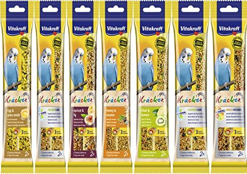Vitakraft – Kräcker in 7Geschmacksrichtungen, Doppelpack: 2 x 7x 65g (insgesamt 14 Kräcker), für Wellensittiche