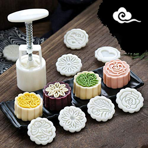 JDV 6 Stück/Set 50g Mooncake Form 3D Blumen Stempel Form Moon Cake Mittherbst Festival Hand DIY Dekor