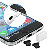 PortPlugs Anti Dust Plugs (2 Pack) Aluminum - Compatible with iPhone 11, X, XS, XR, 8, 7, 6 Plus, Max, Pro - Includes Plug Holders and Cleaning Brush (Black)