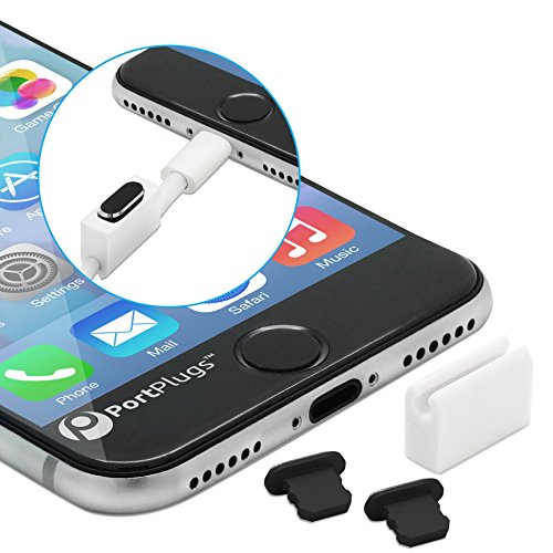 PortPlugs Anti Dust Plugs (2 Pack) Aluminum - Compatible with iPhone 12,11, X, XS, XR, 8, 7, Plus, Max, Pro - Includes Plug Holders and Cleaning Brush (Black)