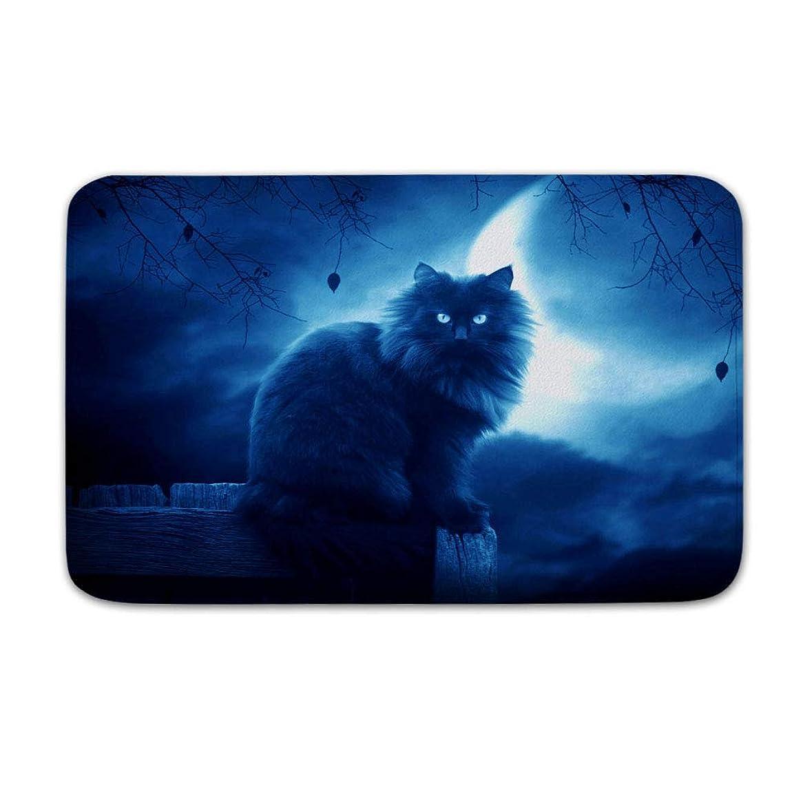 通知現象保持TANGANGELファンタジー猫ブラックムーンシルエットサンゴフリース風呂マットエリア敷物ドアマット入り口敷物フロアマットフロント外側ドアエントリーカーペット50×80センチ
