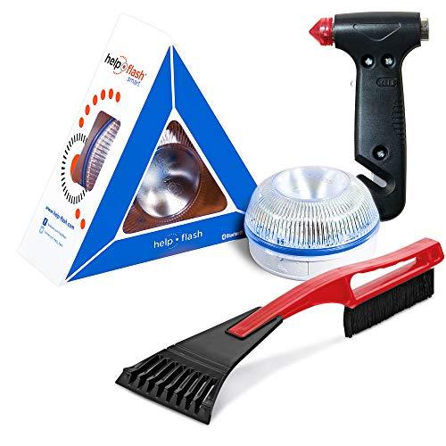 HELP FLASH SMART - luz emergencia AUTÓNOMA preseñalización peligro y linterna, homologada, normativa DGT, V16, AUTOMÁTICA + MARTILLO rompeventanas y cortador cinturón, y RASCADOR de hielo parabrisas
