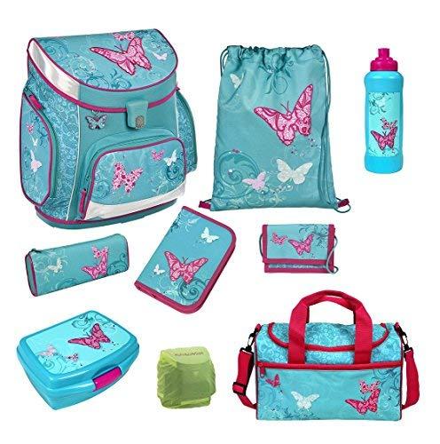 Butterfly Schulranzen-Set 9tlg. Scooli Easy FIT Ranzen 1. Klasse mit Sporttasche Schmetterling und Blumen türkis BUTE8255 Mädchen Schultaschen-Set