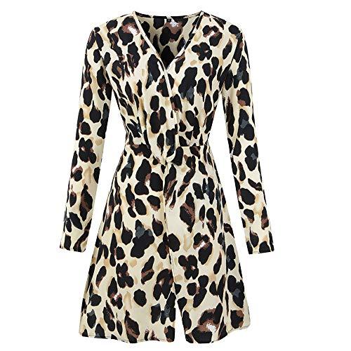 ZODOF Vestido de Mujer con Cuello en V y Estampado de Leopardo Vestido de Fiesta Vestido Mujer Elegante con Corsé Corta Floral Encaje Sexy Vendaje en Cintura Alta Vestido