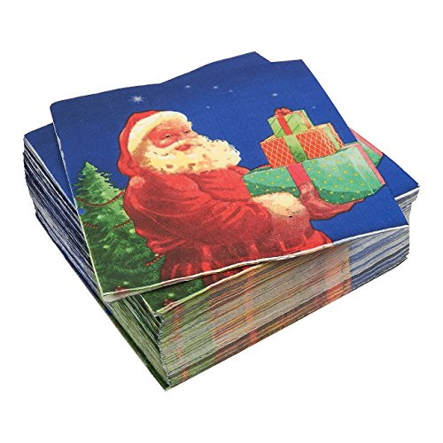 Santa Claus Blue Paper Napkins for Christmas Party (6.5 x 6.5 Inches, 100 Pack)