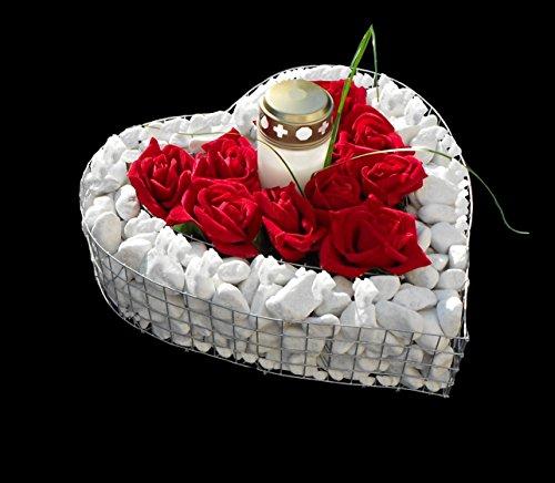 Griglia di cuore con ghiaia Rose e Grab luce 35,0x 35,0x 8,0cm Grab Cuore Grab gioielli per piante cuore Gabbione Cimitero vaso a forma di cuore vaso di fiori in marmo ghiaia