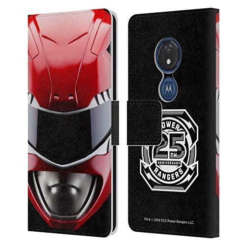 Head Case Designs sous Licence Officielle Power Rangers Rouge MMPR Casque célèbre Coque en Cuir à Portefeuille Compatible avec Motorola Moto G7 Play