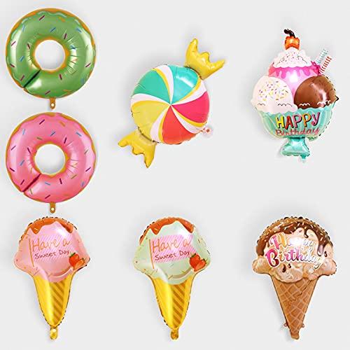 Gxhong 7pcs Decoraciones Fiesta Cumpleaños,Globos de Lámina Helado Globo Caramelo Donut Globos de Fiesta,para Bodas,Cumpleaños,Baby Shower,Festivales,Suministros Fiesta Piruletas para niñas y niños