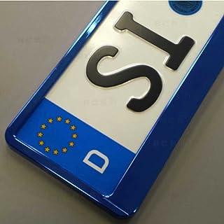 imex 2 Stück Kennzeichenhalter BLAU Hochglanz metallic Optik Nummernschildhalter