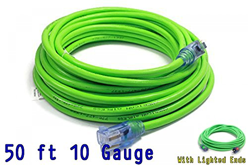 10 3 Contractor Grade 50 ft 10 Gauge Power Extension Cord 10/3 Plug extension cord With Lighted Ends...