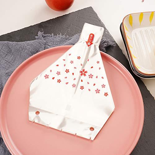 J.F.L 2 moldes de sushi de triángulo japonés + 100 bolsas de envoltura de onigiri + pegatinas de sellado para envolver bolas de arroz + paletas de arroz (rojo)