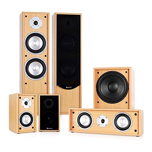 Auna Linie-300-BH 5.1 Heimkino Lautsprecher Set Soundsystem (515W RMS, 2 Standlautsprecher, 2 Regallautsprecher, 1 Centerlautsprecher, 1 Subwoofer) buche