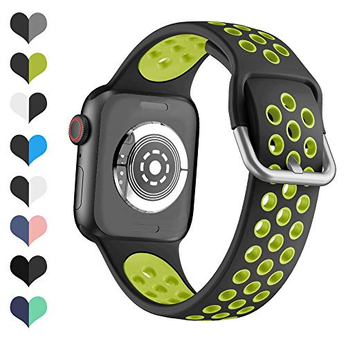 YPSNH Compatible con Correa Apple Watch 38mm 40mm 42mm 44mm Soft Silicone Sports Dual Color Correa de Reloj de Repuesto para iWatch Series 5 4 3 2 1, Sport, Edition para Mujeres Hombres
