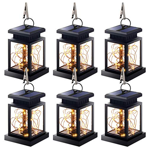 Hanging Solar Lights, Outdoor Hanging Lanterns Lights Solar Fairy String Lights Outdoor Dusk to Dawn Auto On/Off for Garden Patio Yard, Warm White - Christmas Decorations (2Pack)