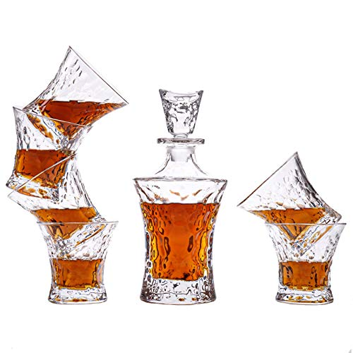 FIOYHLAQy,Whiskey Glass Decanter Set for Men, Crystal Whiskey Glasses And Decanter Set with Unique Luxury Gift Box,for Scotch, Bourbon, Tequila, Vodka And Irish Whisky - 7 Piece
