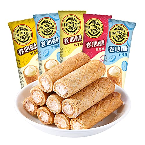 Xufuji Rolled Heart Crispy Cookies, Snacks and Snacks 425g 徐福记 卷心酥 注心饼干 零食点心425g