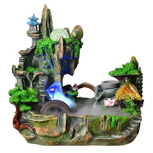 Tingting1992 Fuentes Decorativas Hogar Creativo Montaña Agua Bonsai Humidificador Fuente de Agua de rocalla Artesanía Decoración de Bonsai (Color : S)