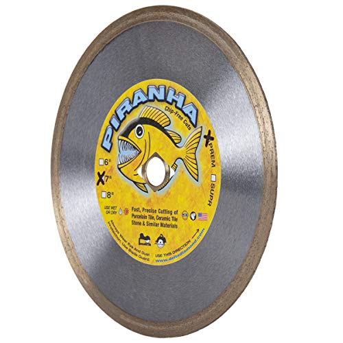 "Piranha 7-inch (7"") Continuous Rim Wet/Dry Diamond Blade for Cutting Porcelain Tile, Ceramic Tile, Stone & Similar Materials"