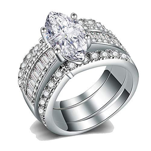 IVERIRMIN Unisex Lujo exagerado Squre Anillo 925 Plata 18k Chapado en Oro Circón Anillos Conjunto Diamante