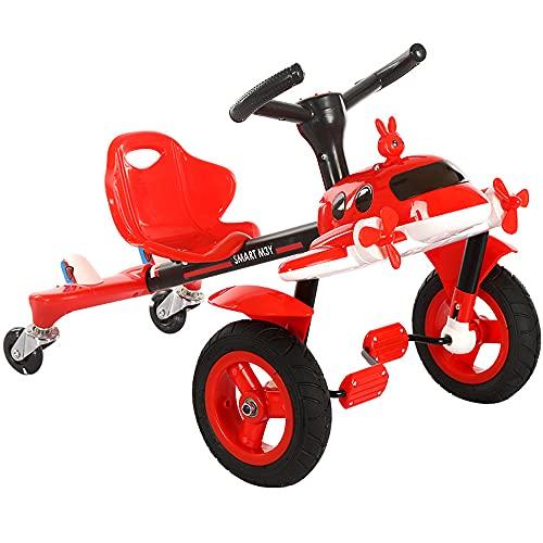 QSYY Scooter De Equilibrio del Pedal del Avión del Niño, El Juguete De Montar En La Bicicleta De Los Niños del Juguete, Un Niño De 1 Año Y Niña, Llantas De Goma, Regalo De Cumpleaños De 1 Año,Rojo