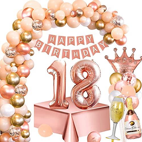 Palloncini Compleanno 18 Anni Donna, Decorazione Feste Oro Rosa con Numero 18 Palloncini, Striscione Buon Compleanno, Tovaglia Oro Rosa, Palloncino Bottiglia Vino Corona per Feste Compleanno 18 Donna