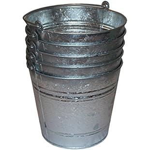 5 x Heavy Duty Metal Bucket Galvanised Bucket Strong 14 Litre 14L Tools Ash Coal Animal Horse Feed