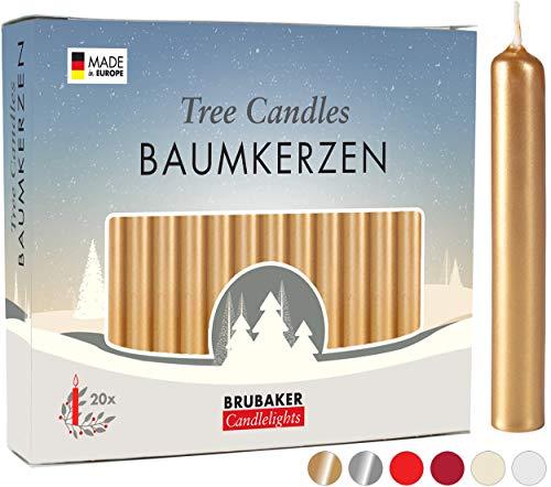 Brubaker Confezione Di 20 Candele Per Albero Di Natale, Candele Natalizie In Color Cera D'Oro
