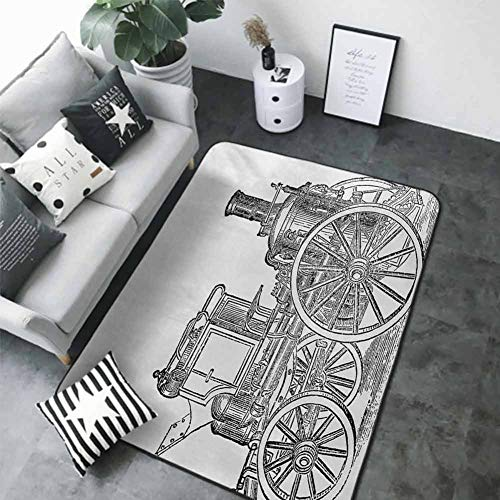 """Office Chair Floor Mat Foot Pad Steam Engine,Old Fireman Truck Drawing Effect Picture British Antique Transport,Charcoal Grey White 80""""x 120"""" Best Floor mats"""