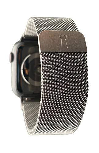 Tower Milanaise - Correa magnética de acero inoxidable, 20 mm, plateada, compatible con Apple Watch 38 mm/40 mm y con Samsung Galaxy Watch 42 mm, Active Watch 2 40 mm UVM.
