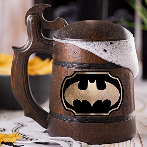 Batman Animated Series Cartoon Wooden Beer Mug, Batman Animated Series Beer Stein, Custom Beer Stein, Gamer Gift, Gamer Tankard, Gift for Men, Gift for Him