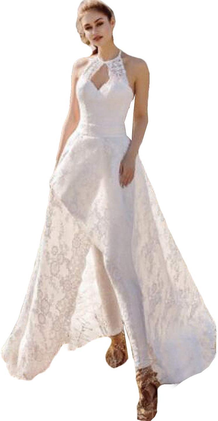 Xixi House Women's Elegant Lace Wedding Jumpsuit 2021 Bride Dress with Overskirt Wedding Gown