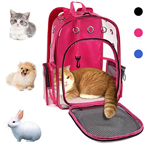 YUDODO Pet Cat Dog Backpack Carrier Travel Hiking Mesh Front Dog Backpack Carrier for Cat Rabbit Small Animal Breathable Clear Lightweight Pet Backpack for Outdoor Walking (Pink 2-10lbs)