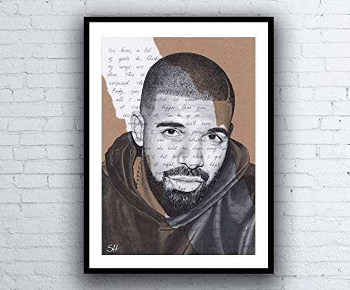 Drake ORIGINAL Portrait Drawing with Best I Ever Had Lyrics - A4 Size Art Signed