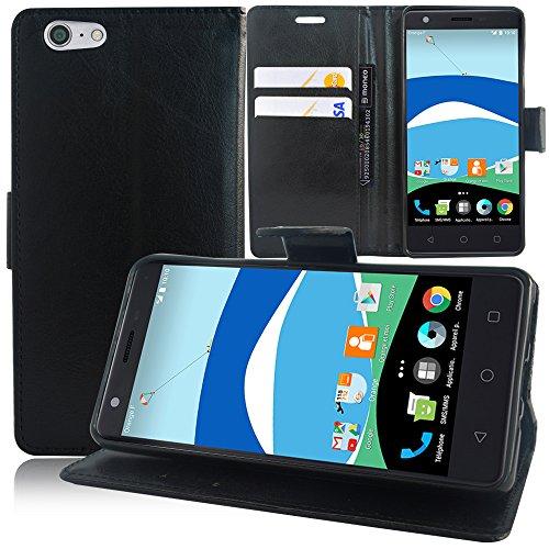 Arancione Neva 80 4G Custodia HCN PHONE Custodia portafoglio custodia aletta pellicola tipo libro libro con supporto integrato per Orange Neva 80 4G - nero