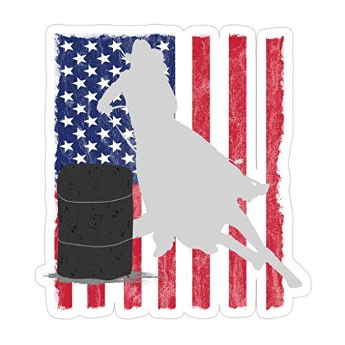 DKISEE 3 piezas de la bandera americana de carreras de barril – 10,16 cm pegatinas troqueladas para laptop, ventana, coche, botella de agua