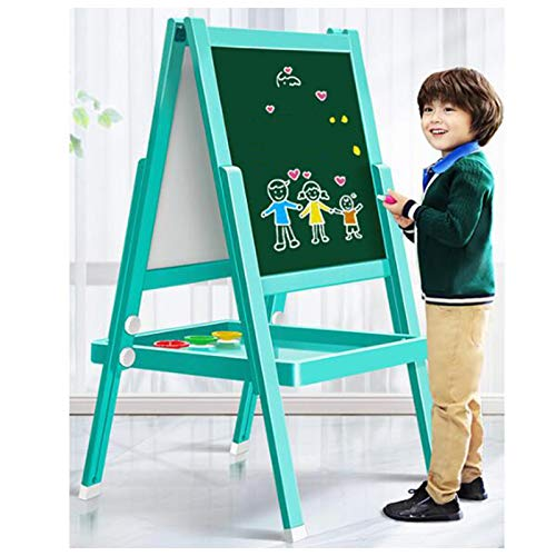OSHA HJWMM Pizarra Infantil Caballete para Niños, Doble Ajustable Plegable Pizarra y Pizarra Magnética, Tablero de Dibujo Divertido Juguete Madera Educativo (Color : C, Size : 135x55cm)
