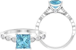 Anillo solitario de corte princesa de 6,5 mm, anillo de moissanita D-VSSI, anillo de compromiso de oro blanco de 14 quilates