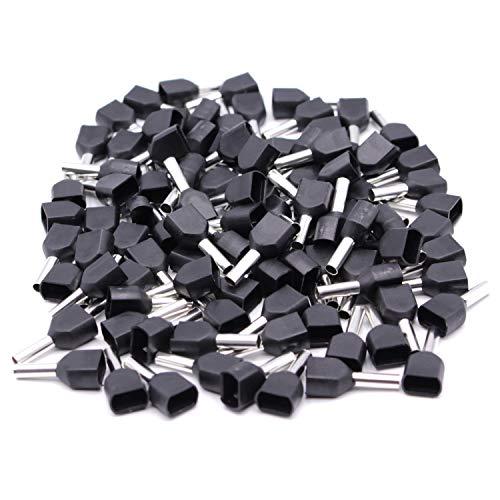 500 Stück Aderendhülsen mit Kunststoffkragen in schwarz für 2x1,5mm² Kabel/Litze Twin – Aderendhülsen Zwillingsaderendhülsen isoliert zum Crimpen/Quetschen