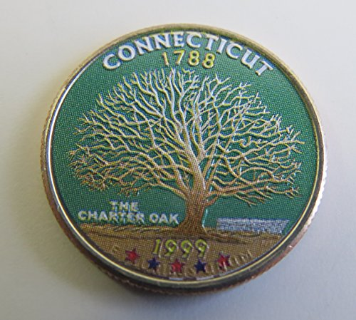 1999 Various Mint Marks Connecticut State Colorized Quarter Choice Uncirculated