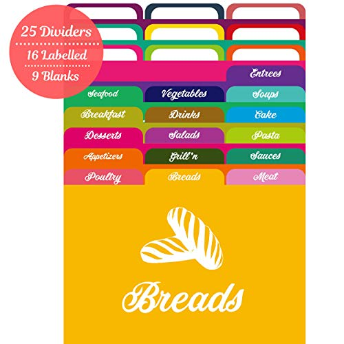 AKSHAYA Recipe Card Dividers Set - 25 Recipe Box dividers 4x6 with Tabs | 16 Labelled and 9 BlankTabs | Index Card Dividers 4x6 | Helps Organize Recipe Cards 4x6 in Recipe Boxes - Assorted Colors