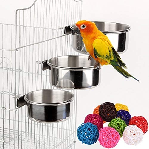 2 Pcs Parrot Bird Bowl Parrot Food Dish Stainless Steel Birds Feeding Cups with 6 Pcs Rattan Balls Bird Toy DIY Accessories Toy(Random Color)